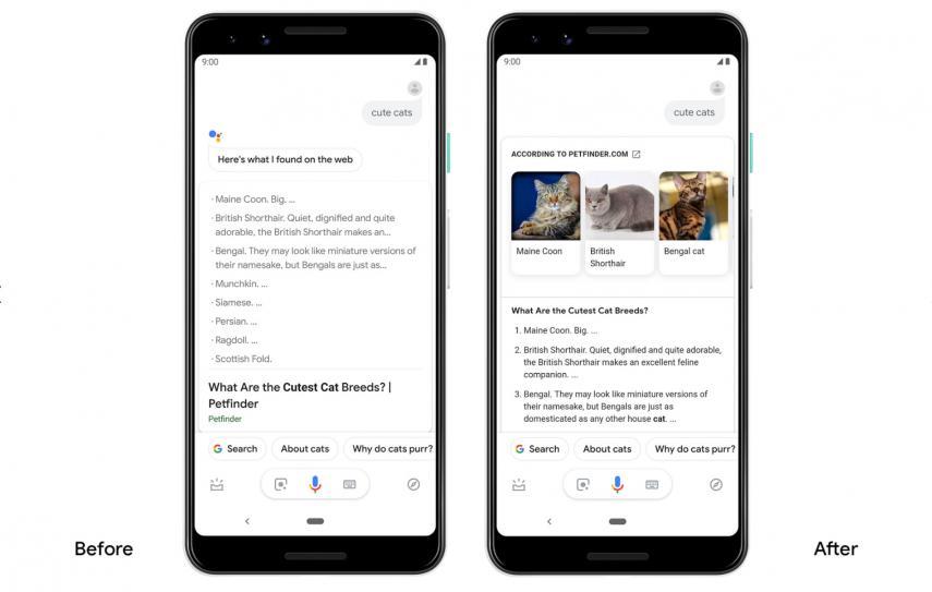 Última actualización de Google Assitant, con un resultado más claro y visual.